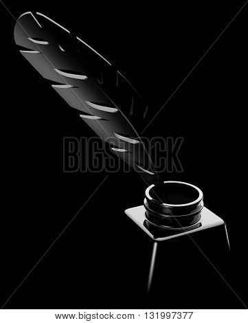 Feather In An Inkwell On Black Background 3d Illustration