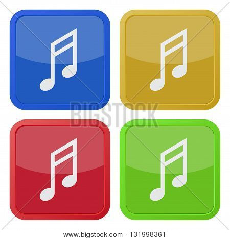 set of four colored square icons with musical note