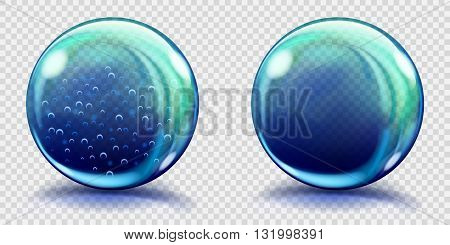 Big Blue Glass Spheres With Air Bubbles And Without