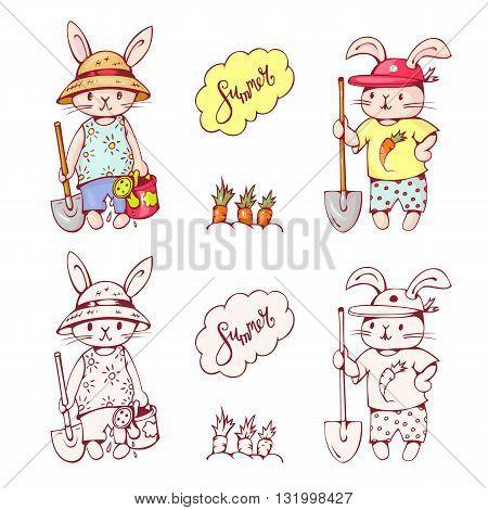 Illustration of funny cartoon Bunnies with carrots. Hand-drawn illustration. Vector set.