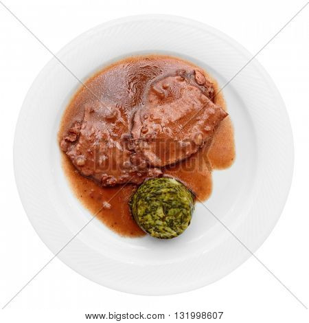 Stewed meat in plate isolated on white background