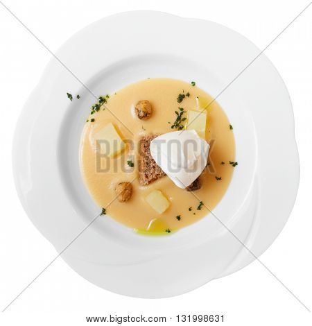 Pureed beans, bread, cheese and ice-cream, modern food, isolated