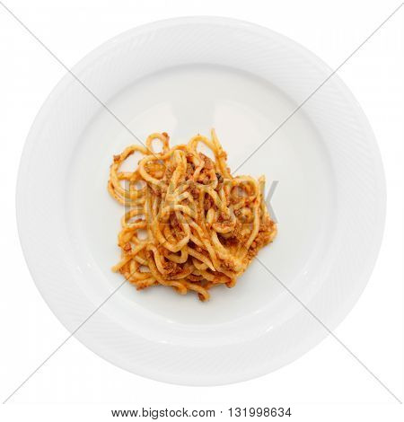 Traditional Tuscan pici pasta with wild boar meat isolated on white