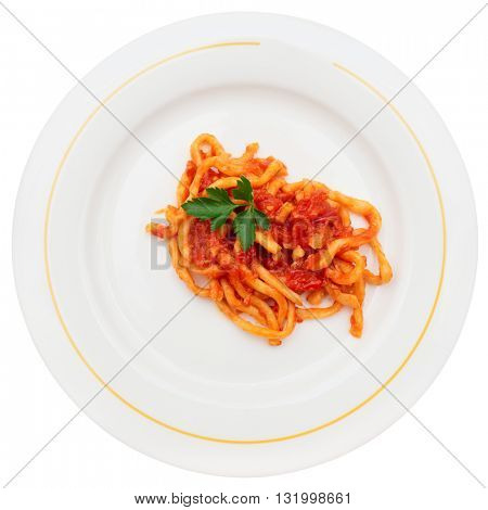 Traditional Tuscan pici pasta with tomato sauce, isolated on white