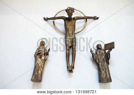 PIFLAS, GERMANY - JUNE 07: Virgin Mary with Saint John under the cross, church of St. John in Piflas, Germany on June 07, 2015.
