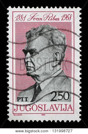 ZAGREB, CROATIA - JUNE 14: Stamp printed in Yugoslavia shows Ivan Ribar (1881 - 1968) Yugoslav politician and soldier of Croatian descent, circa 1981, on June 14, 2014, Zagreb, Croatia