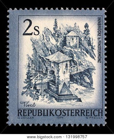 ZAGREB, CROATIA - SEPTEMBER 13: a stamp printed in the Austria shows Inn Bridge, Alt Finstermunz, Tirol, circa 1974, on September 13, 2014, Zagreb, Croatia