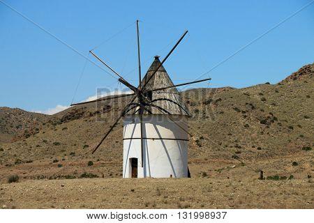 MILL OF THE NATIONAL PARK OF CABO DE GATA-NIJAR , ALMERIA PROVINCE, SPAIN
