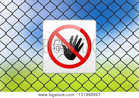 Metal Sign Restricted Area - No Entry On Metal Fence