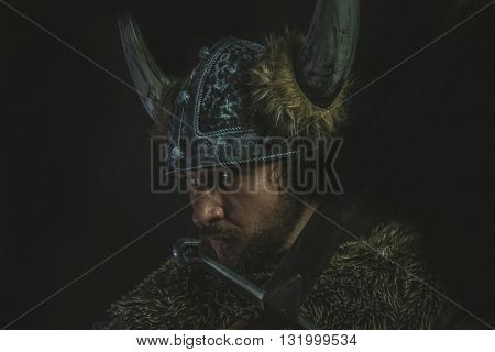 Costume, Viking warrior with a huge sword and helmet with horns