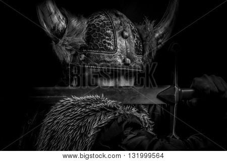 Fear, Viking warrior with a huge sword and helmet with horns