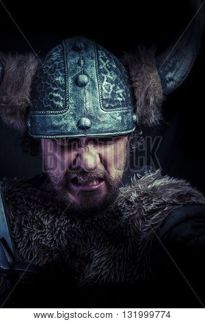 Furious, Costume, Viking warrior with a huge sword and helmet with horns