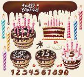 pic of birthday-cake  - Set with chocolate cakes and birthday decoration - JPG