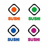 Постер, плакат: Sushi Cafe Or Sushi Bar Vector Logo Sushi With Fresh Tuna Sign Salmon Sushi Vector Icon Sushi Bar