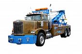 stock photo of wreckers  - this is a picture of a heavy duty wrecker used for towing semi trucks - JPG