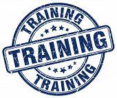 Training Blue Grunge Round Vintage Rubber Stamp.training Stamp.training Round Stamp.training Grunge poster