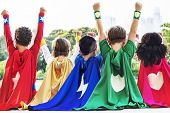 Superheroes Kids Friends Playing Togetherness Fun Concept poster