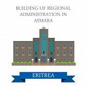 Постер, плакат: Regional Administration in Asmara Eritrea vector flat attraction
