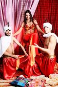 picture of concubine  - Shot of three young people in oriental costumes - JPG