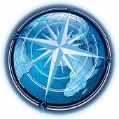 stock photo of longitude  - vector abstract composition with globe and windrose - JPG