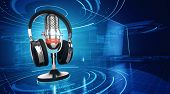 Webinar, Online Education and Training concept - Microphone and headphones on blue technology backgr poster