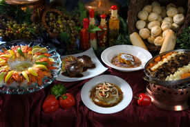 picture of gourmet food  - image of a beautiful table setting of prepared gourmet foods - JPG