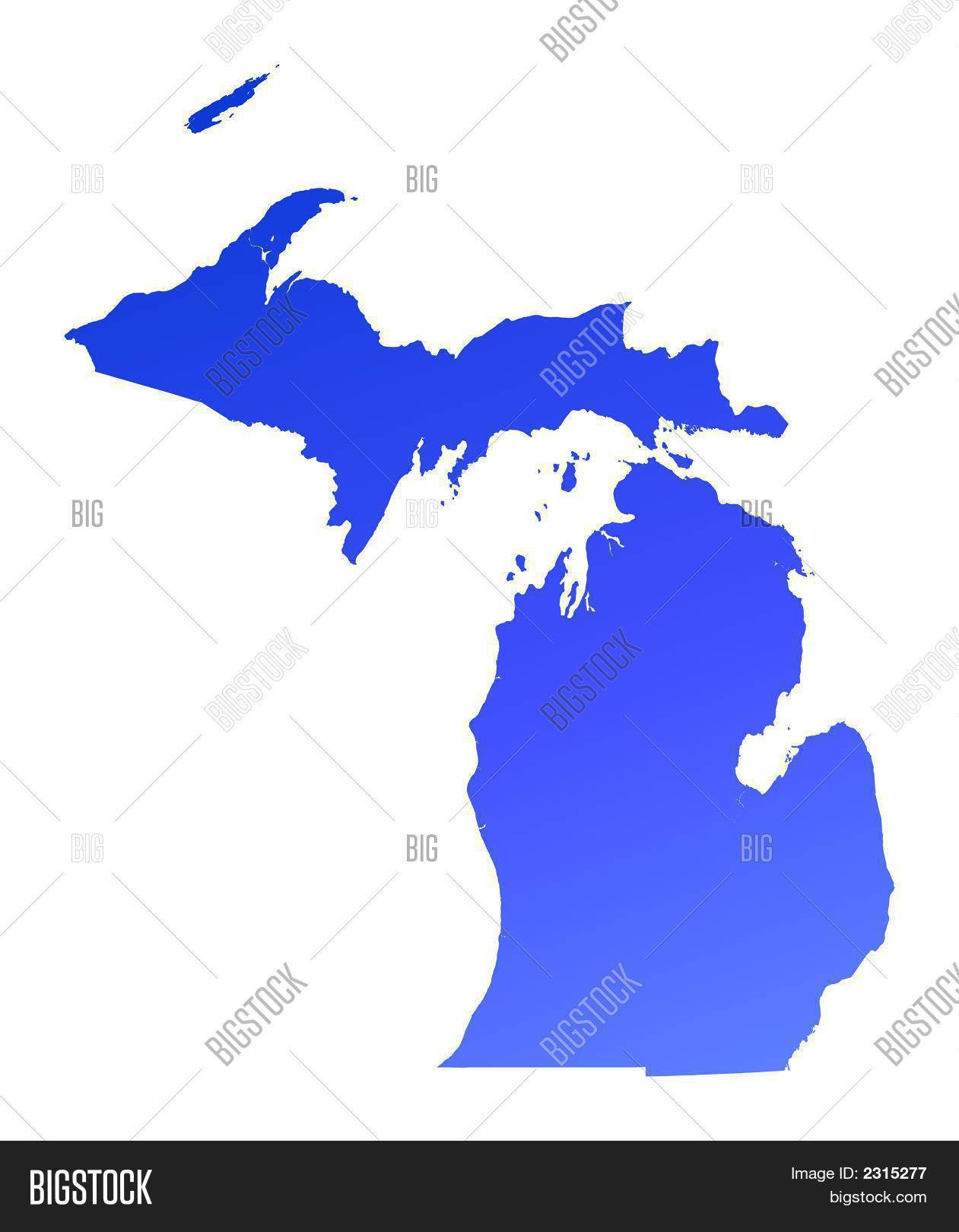 Michigan State Usa Vector Map Isolated Stock Vector 309561890