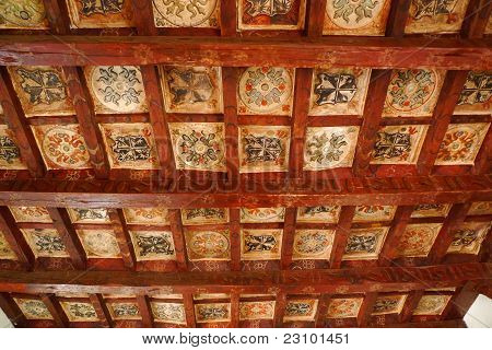 Old ceiling panels in monastery