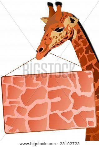 Giraffe mit einem Werbebanner
