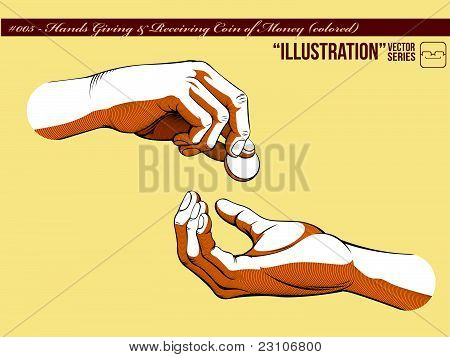 Hands Giving & Receiving Coin Of Money_colored.eps