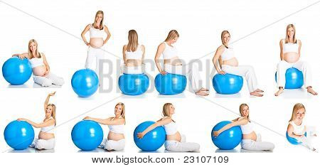 Pregnant Woman Fitness  Collage Isolated On White