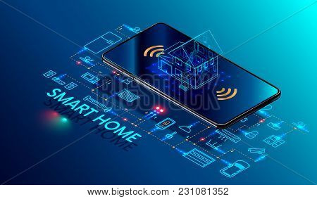 poster of Smart Home Controlled Smartphone. Internet Of Things Technology Of Home Automation System. Small Hou