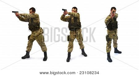 aiming soldier white background