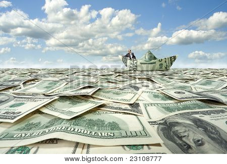Businessman Sailing On Dollar Boat