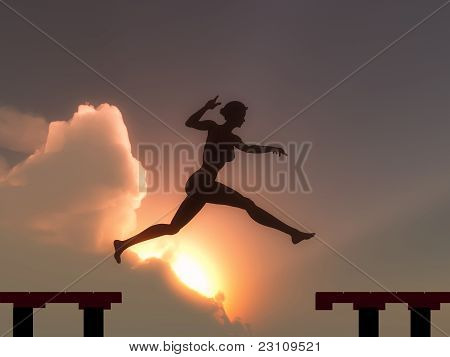 Woman jump through the gap