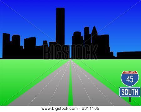 Freeway Leading To Houston