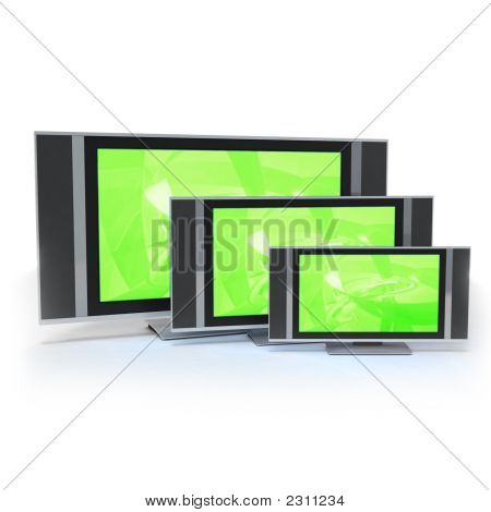 Lcd Screen Tvs In 3 Different Sizes Green