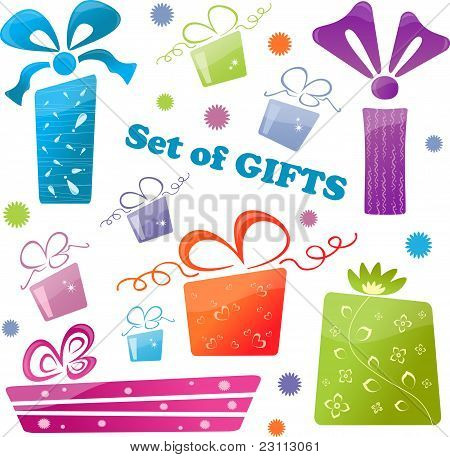 Set of colorful gifts (icons), vector illustration