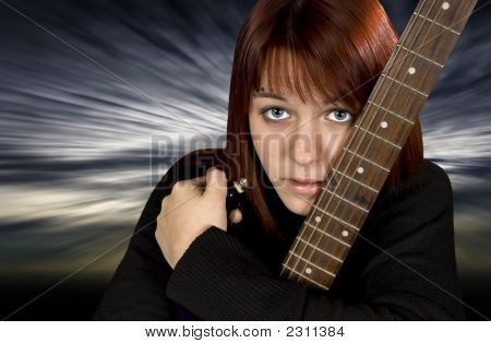 Sad Girl Protecting Her Guitar