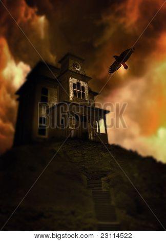 Casa embrujada en una colina