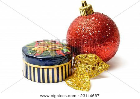 Small Embossed Box With Christmas Ornaments