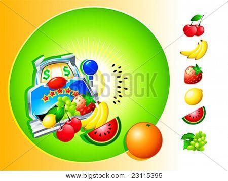 Casino slot Fruit Machine symbol with isolated fruits