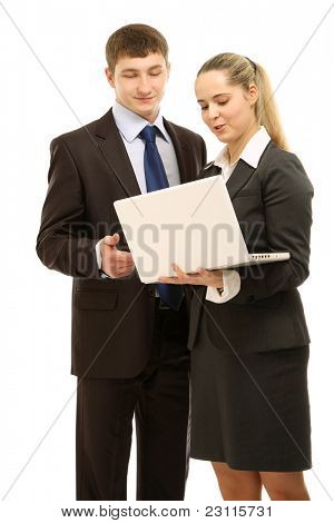 Business couple with laptop isolated on white backgrou