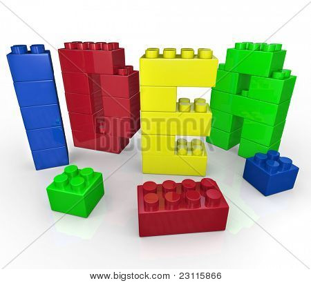 The word Idea built with toy building blocks representing brainstorming and creative play to come up with innovative ideas to solve a problem