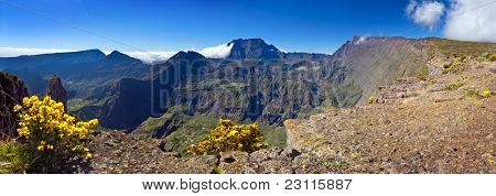 A view of Mafate Cirque from Maido, Reunion Island.