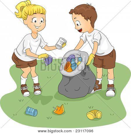 Ilustração de crianças limpando um campo
