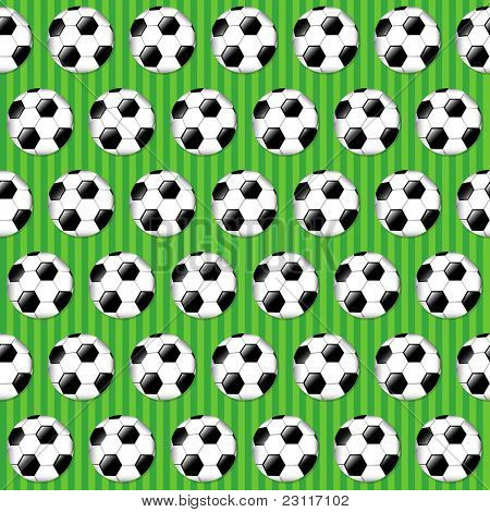 Seamless football pattern on striped grass background. EPS10 vector format.