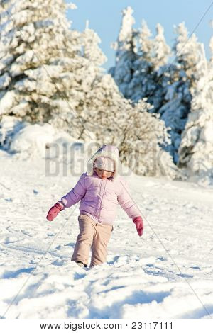 little girl in winter Orlicke Mountains, Czech Republic