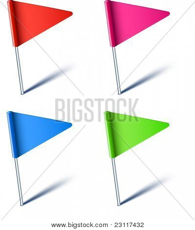 Vector illustration of color pin flags.