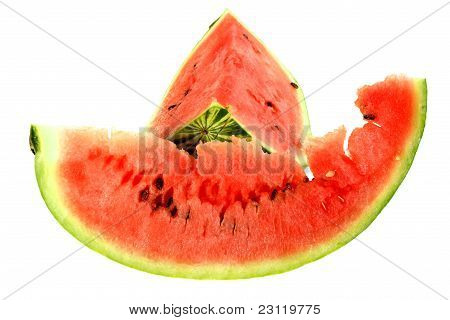 Two Red Slice Of A Ripe Watermelon
